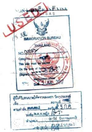 タイ国内切替のノンイミグラントビザ例